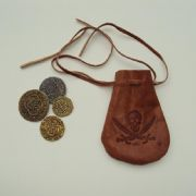 Pirate Coins & Leather Pouch - Great Accessory for Any Costume. Treasure Chest